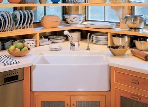 I love the idea of a corner sink to save room in a small kitchen.