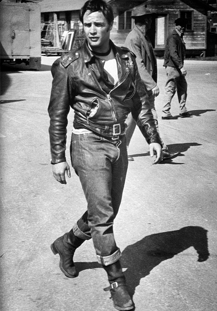 """wehadfacesthen: """"Marlon Brando on the set of The Wild One, a photo by Phil Stern, 1953 """""""