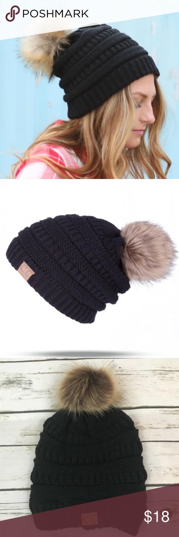 d5686692816 C.C Black Cable Knit Beanie Faux Fur Pom Pom C.C Black Cable Knit Beanie  Faux Fur