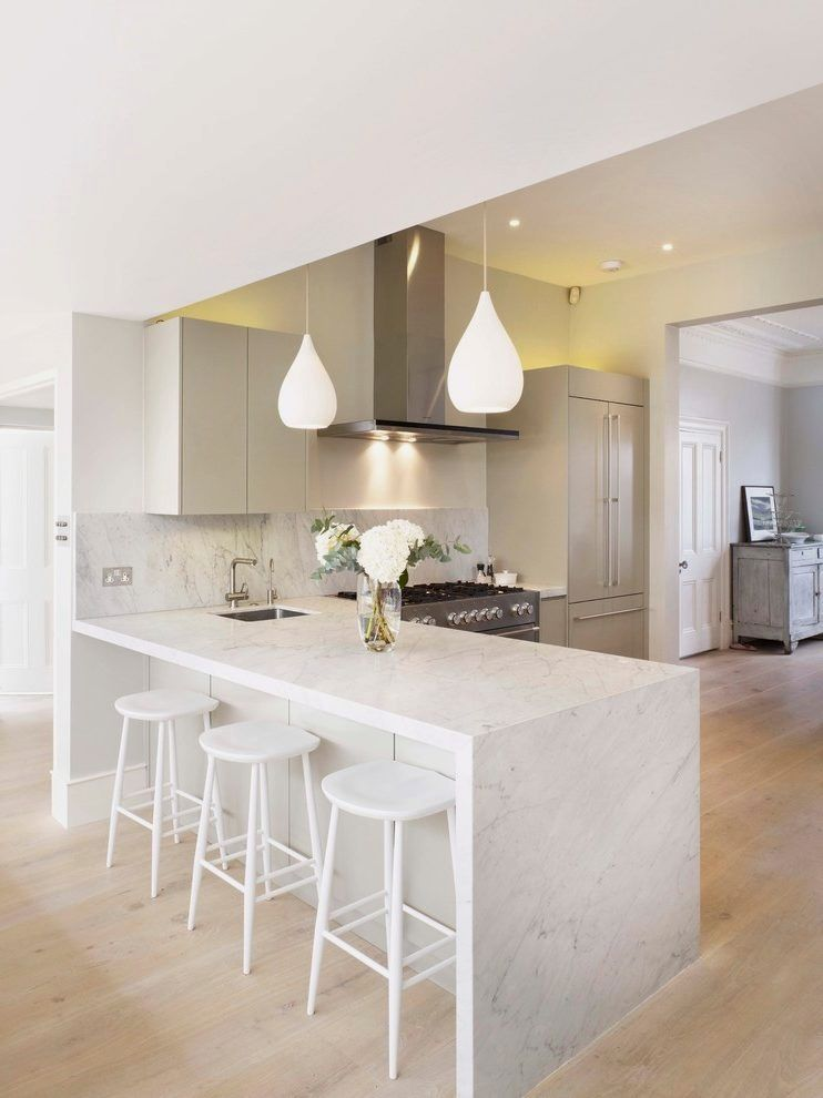 50 Easy Kitchen Lighting Fixture Ideas To Complement The Spa In Your Home Breakfast Bar Contemporary With Marble Worktop