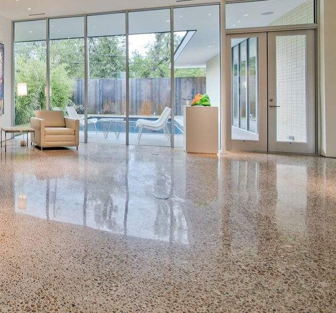 Polished concrete for back room extension house ideas for Polished concrete floor bathroom