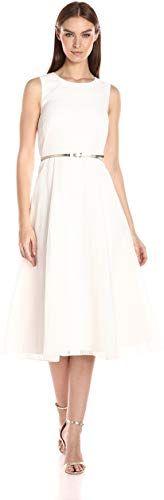 New Calvin Klein Women's Novelty Fabric Belted Midi Dress ...
