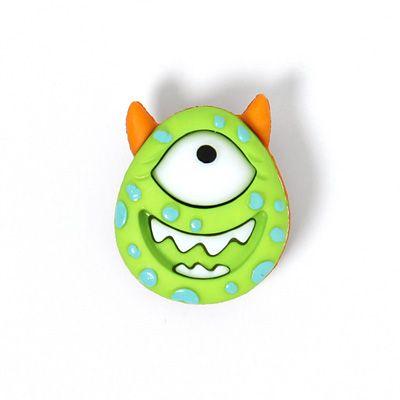 Nicht nur für Karneval ein Hingucker: Kunststoffknopf Monster 1 (20) - Nylon - grün von stoffe.de