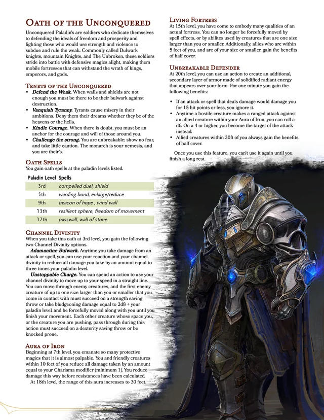 OC Oath of the Unconquered- A paladin oath dedicated to preserving freedom by being an ...