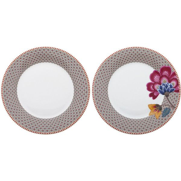 Pip Studio Khaki Salad Plates - Set of 2 found on Polyvore featuring polyvore, home, kitchen & dining, dinnerware, pink, floral plates, art deco dinnerware, pink plates, porcelain plates and floral porcelain dinnerware