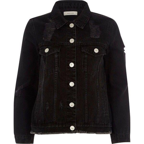 River Island Petite black distressed denim jacket (1,665 MXN ...