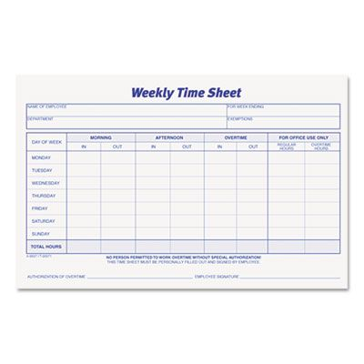 Tops Weekly Time Sheets 5 1 2 X 8 1 2 50 Pad 2 Pack 30071
