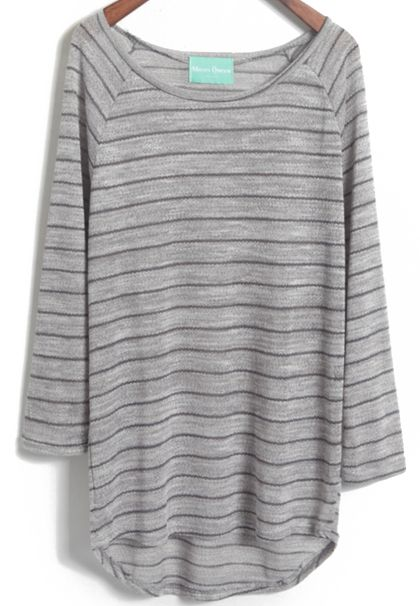 Grey Batwing Long Sleeve Striped Knitwear - abaday.com