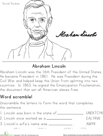 historical heroes abraham lincoln worksheets abraham lincoln education and homeschool. Black Bedroom Furniture Sets. Home Design Ideas
