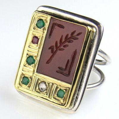Carnelian (hand-carved) on silver 925, gold k18, emeralds, ruby & diamond