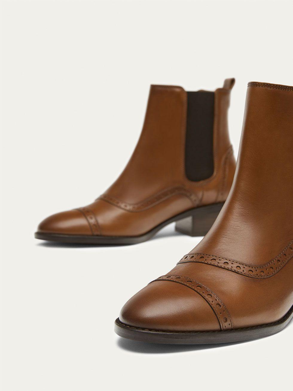 cb87e1d390a BOTIN CHELSEA PIEL MARRÓN de MUJER - Zapatos - Ver todo de Massimo Dutti de  Otoño