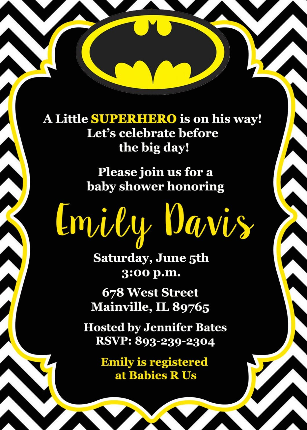 Batman Baby Shower Invitations