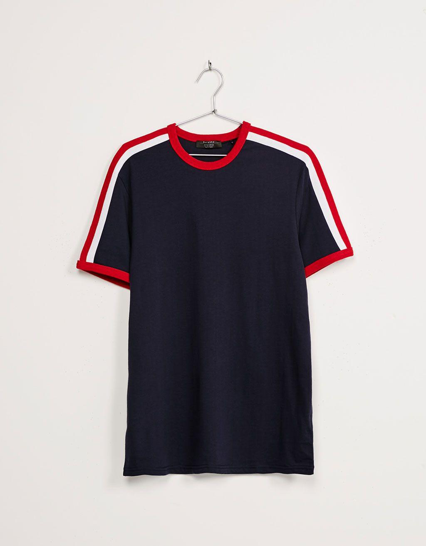 T-shirt bande latérale rétro - Tee-shirts - Bershka Belgium