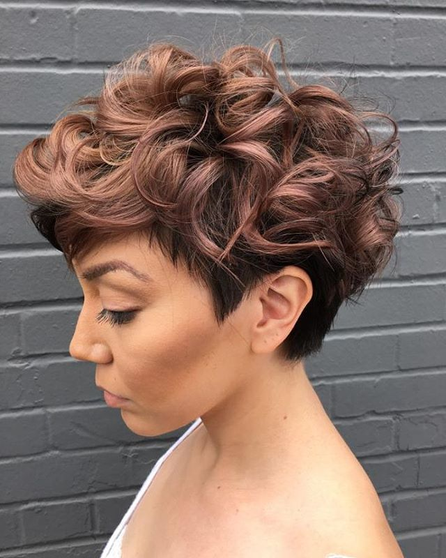 Women S Tapered Curly Haircut Short Wavy Hair Hair Styles Short Curly Haircuts