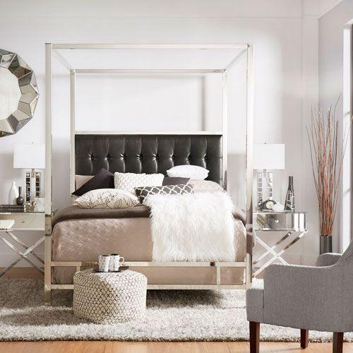 HomeHills Adora Black Glam Chrome Canopy Bed