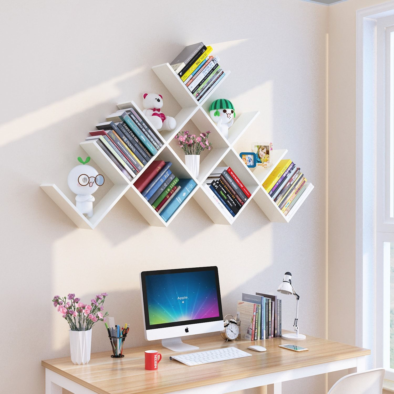 Wall Mounted Bookshelf Desk In 2020 Study Room Decor Wall Mounted Bookshelves Bookshelf Design
