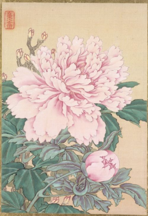 Silk painting of Peonies by Okamoto Shūki (Japan, 1807-1862) from an album of pictures of birds and flowers.Image and text courtesy LACMA