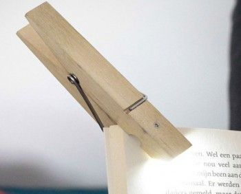 LED Clothespin Light Clips Onto Any Reading Material