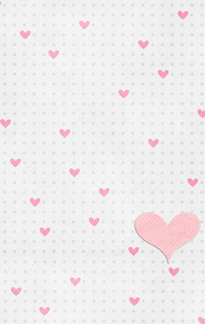 Gray White Pink Polka Dots Hearts Iphone Wallpaper