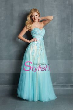 Beautiful Prom Dresses A Line Floor Length Appliqued Bodice Tulle Skirt 2014 USD 179.99 STPH8YPJ5H - StylishPromDress.com