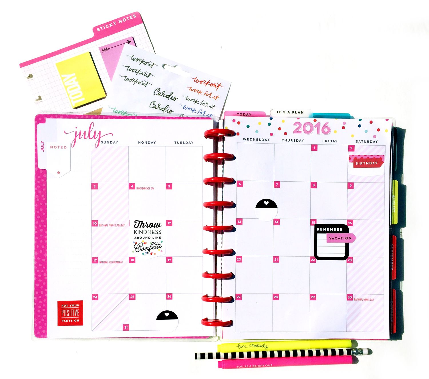 July setup in the 'Be Bright' Happy Planner™ of mambi Design Team member Casei Gutierrez | me & my BIG ideas