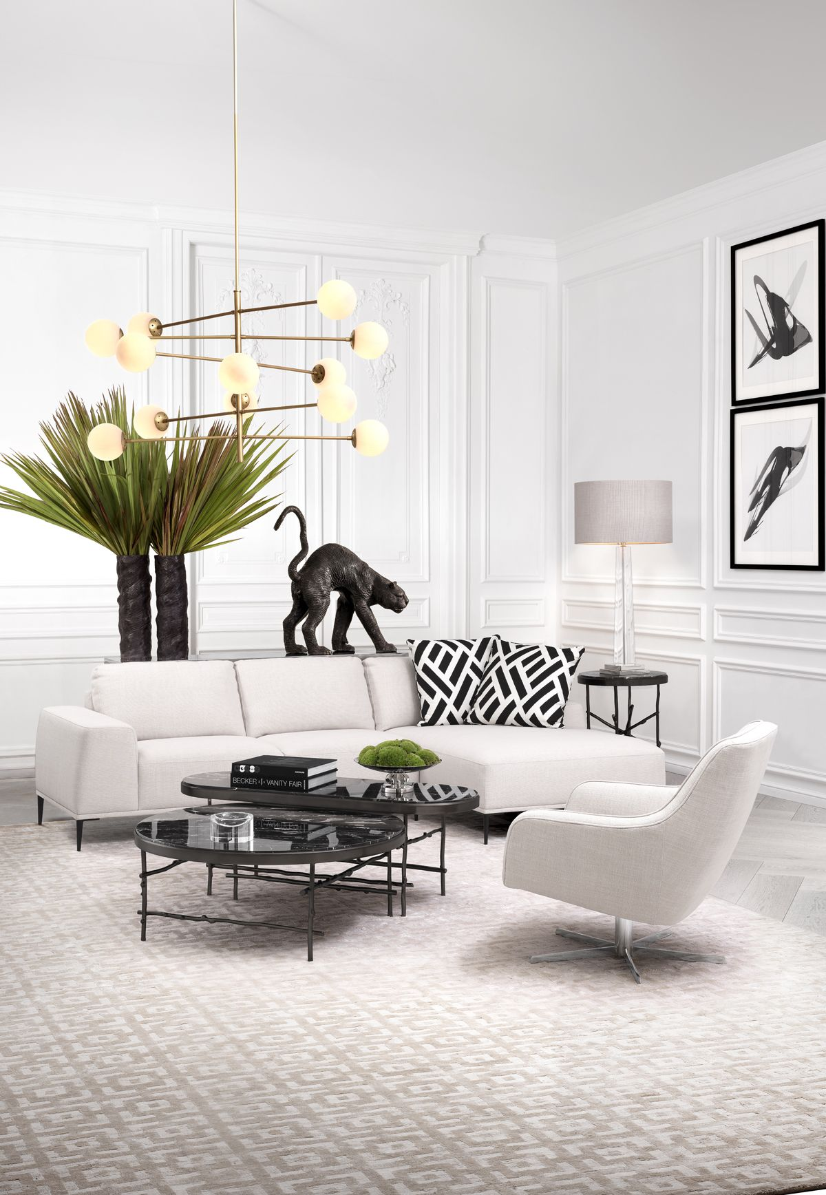 Eichholtz Furniture Lighting Home Design Bring Soothing Synergy In Your Living Space With Eichholtz Luxury Lighting White Interior Design Furniture Home [ 1736 x 1200 Pixel ]