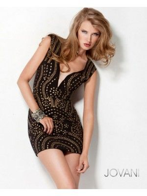Jovani 2561 - Short, black cocktail dress for clubbing and parties, or for prom and homecoming dances. From Madame Bridal.