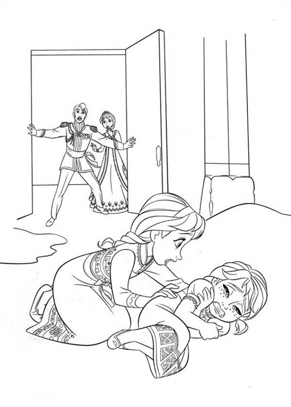 Elsa Accidentally Struck Anna While Playing Coloring Page Free Printable Frozen Pages