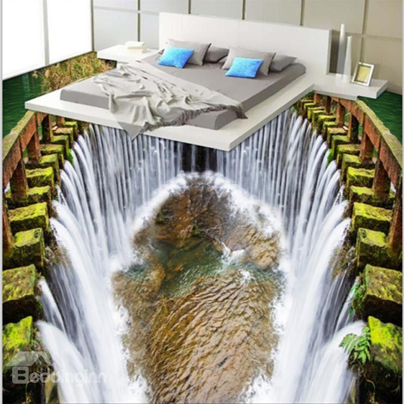 Fancy Modern Design Reservoir Waterfalls Pattern Decorative Waterproof 3D Floor Murals