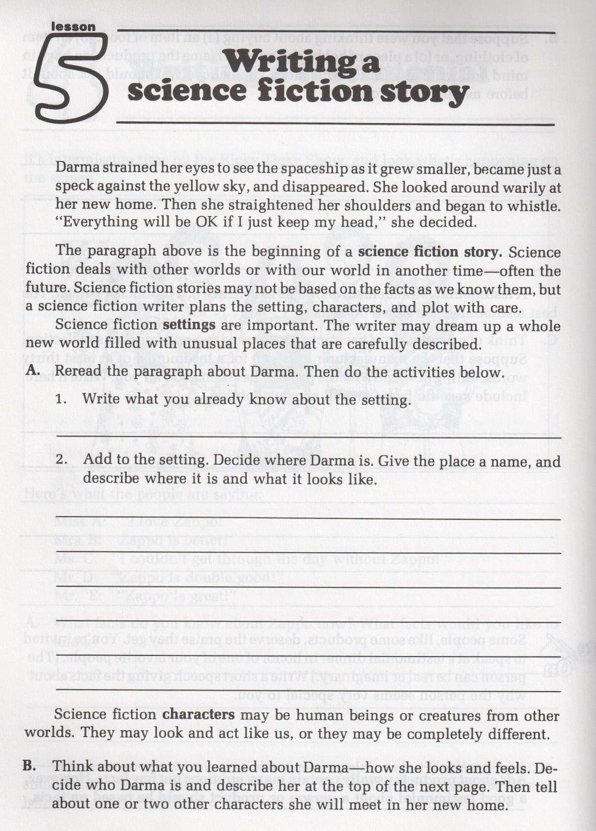 8 Science Fiction Story Worksheet