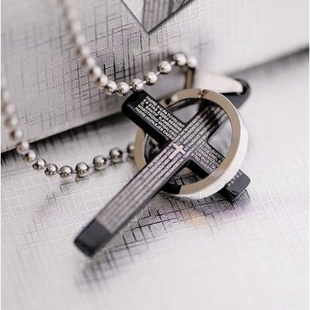 Classical black holy bible mens titanium cross pendant men classical black holy bible mens titanium cross pendant aloadofball Gallery