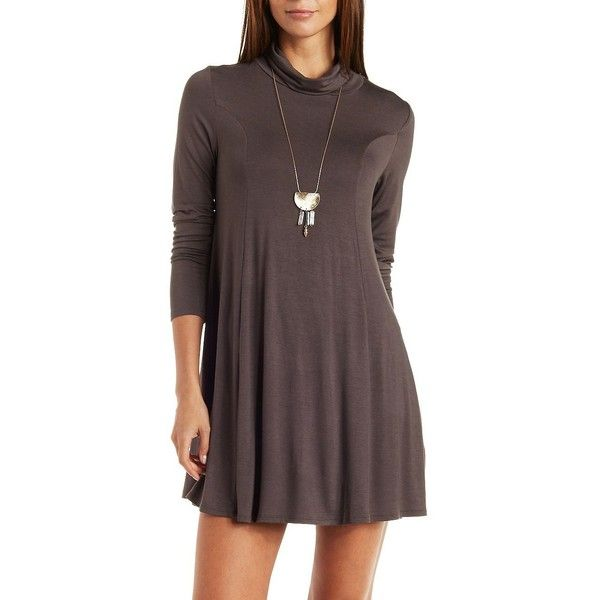Charlotte Russe Gray Long Sleeve Turtleneck Swing Dress by Charlotte ... ccf845269