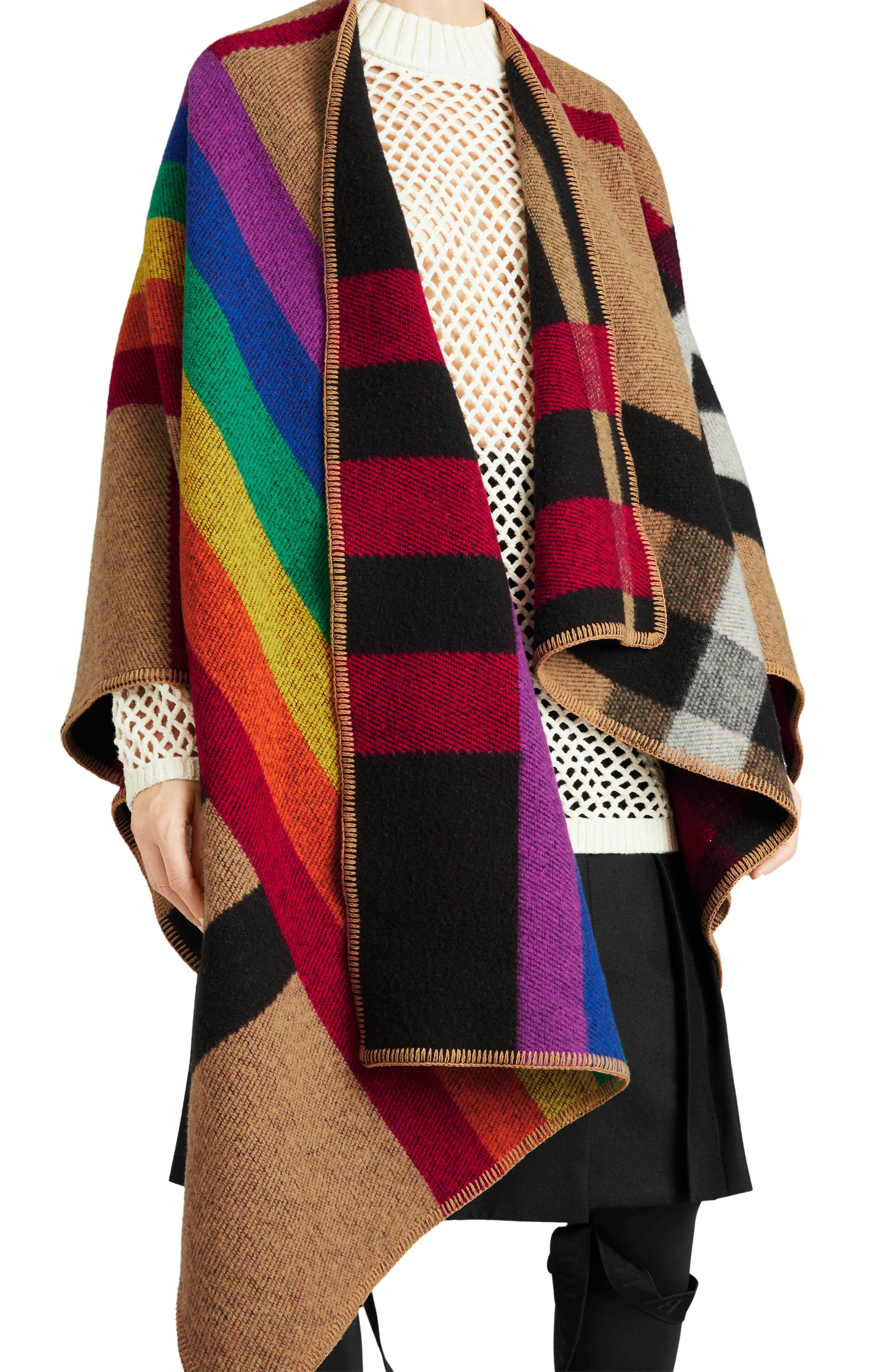 a2877bd8f15 Rainbow Stripe Vintage Check Wool   Cashmere Cape