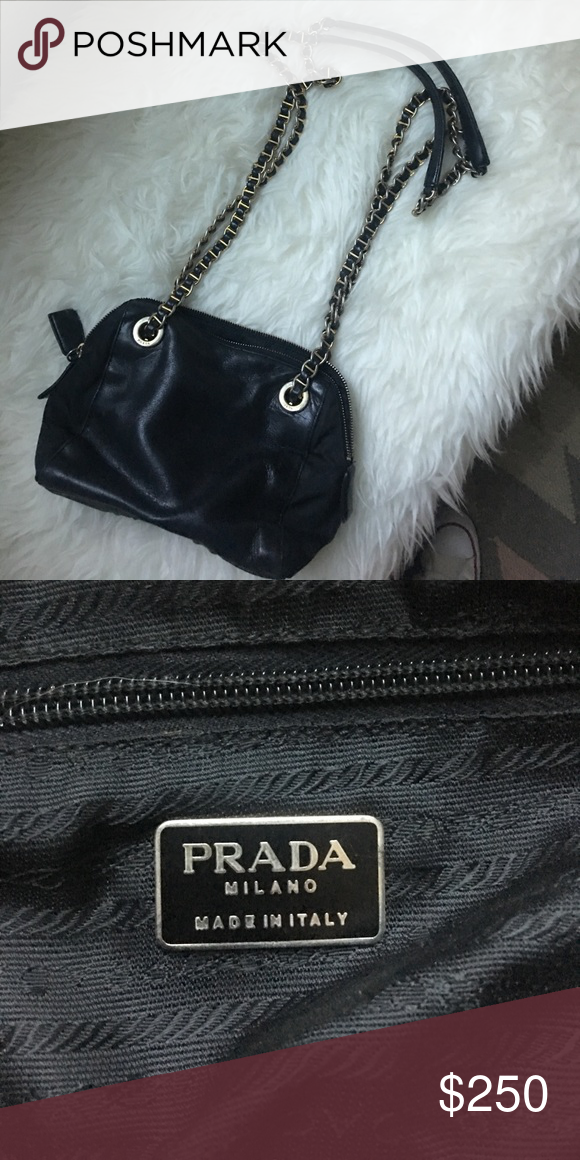 6351f72c63b7 Prada Milano leather chain purse Prada leather black purse pre-owned in  good condition. Straps are leather with gold chain. Prada Bags Crossbody  Bags