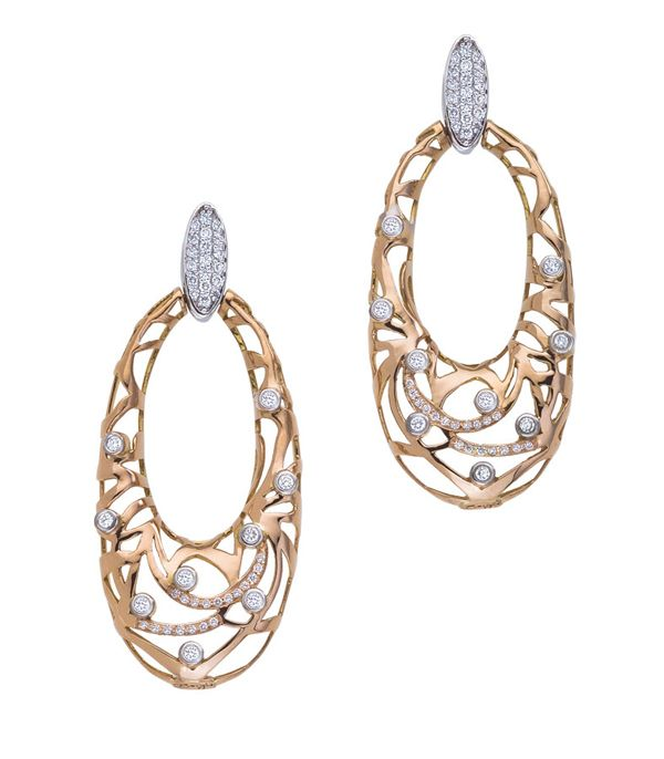 18kt Rose Gold Safari Open Oval Earrings with diamonds - by Bergio