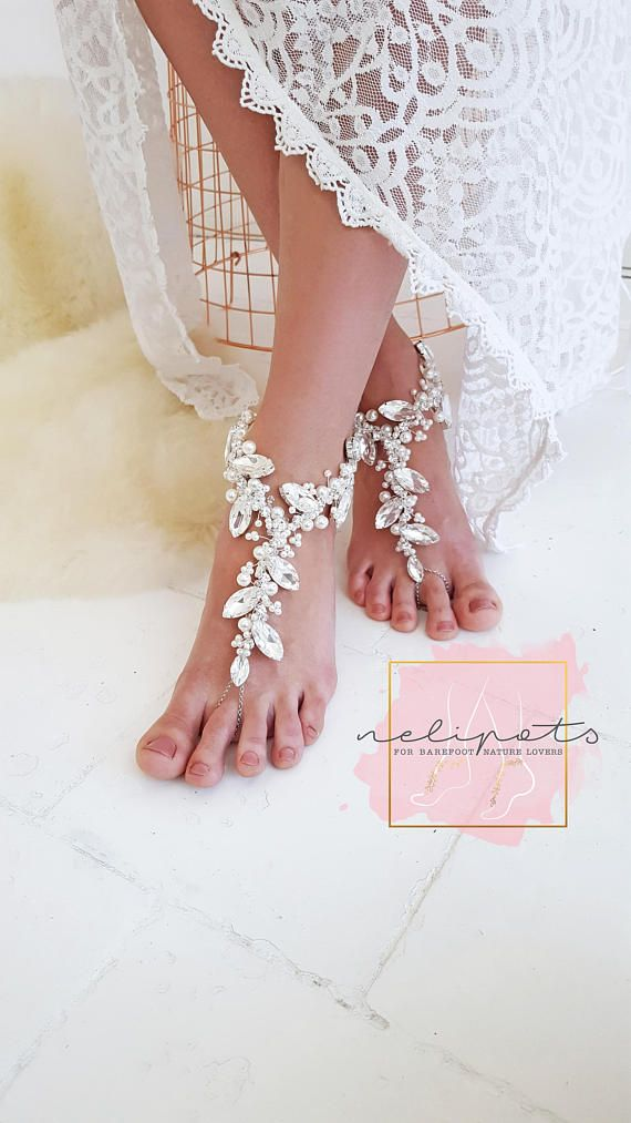 060a147dcde8 Beach Wedding Barefoot Sandals Bridal Feet Jewelry Boho Slave