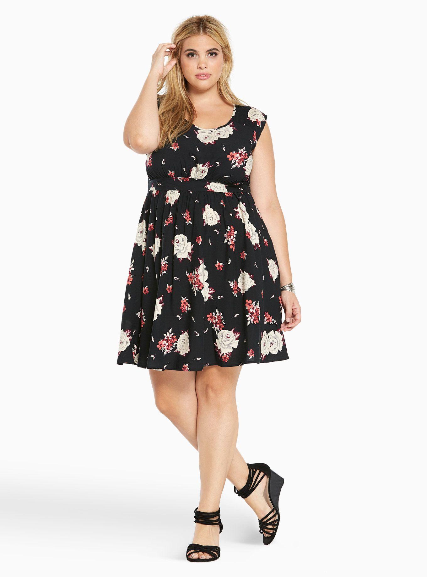 f450c1087fd0d Floral Print Challis Open Back Dress