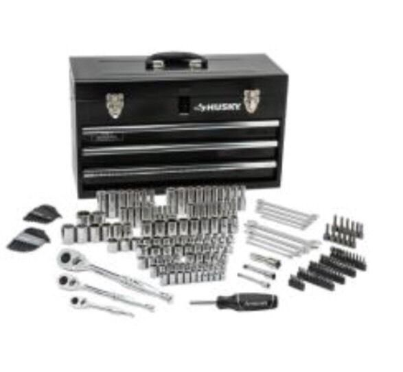 Husky 1001378563 200 Piece 1 4 3 8 1 2 Drive Mechanics Tool Set 628255 U19 Mechanics Tool Set Mechanic Tools Metal Tool Box