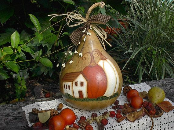 Fall Scene On Gourd Hand Painted Gourds Gourds Crafts Gorgeous Gourds