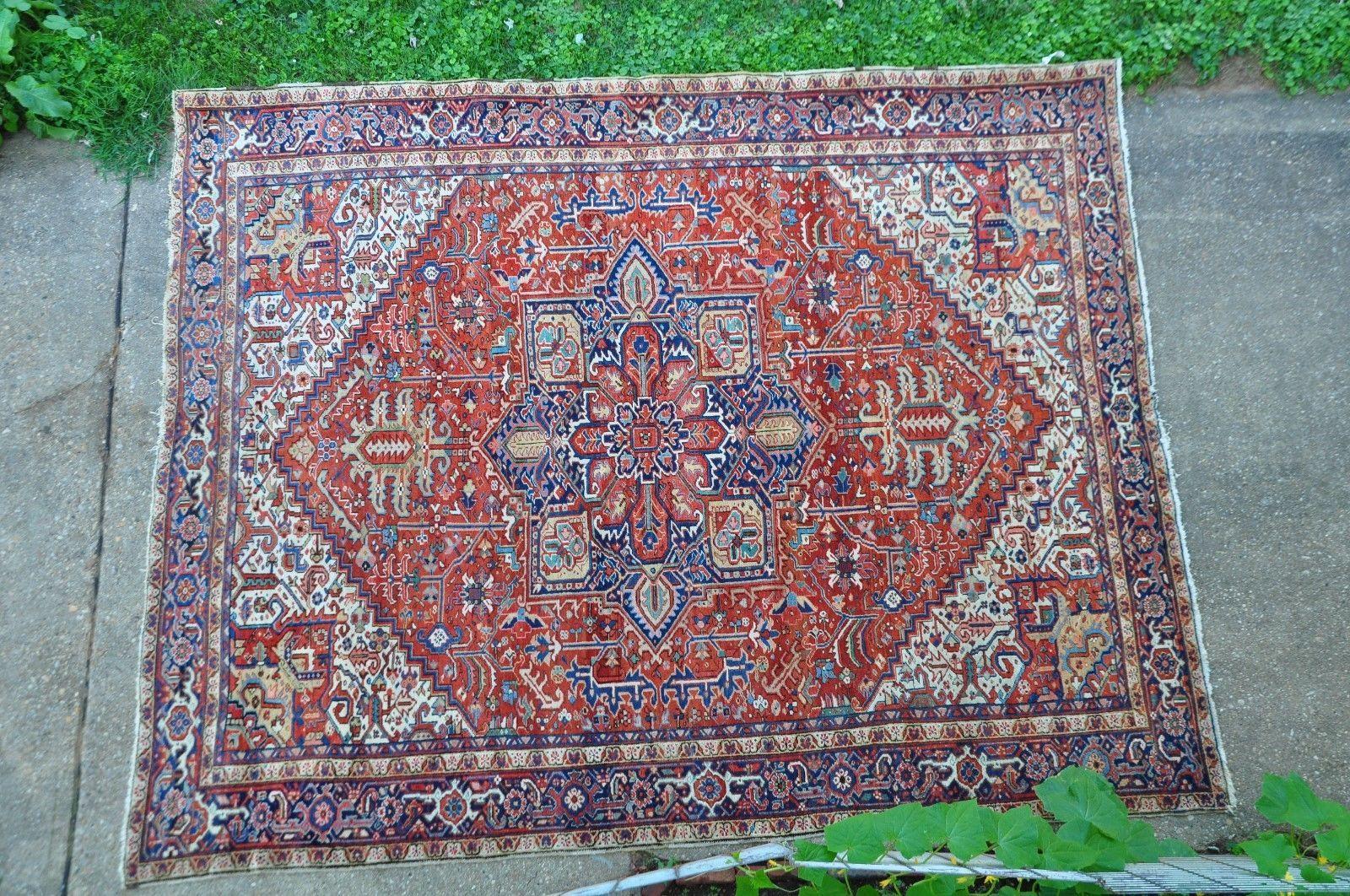 Antique Persian Heriz Rug Serapi Rug 10x12 Ebay Persian Heriz Rug Serapi Rug Rugs