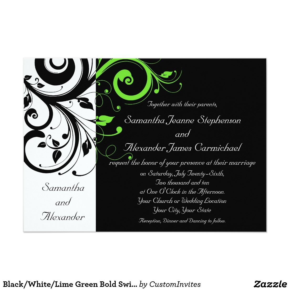 Black/White/Lime Green Bold Swirl Wedding Card | Wedding, Weddings ...