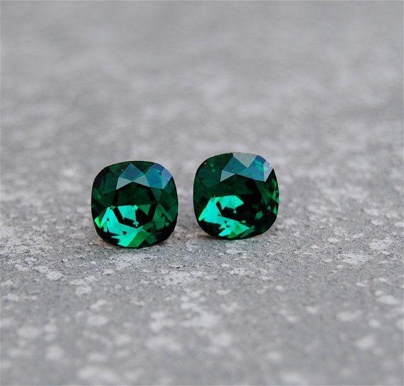 d166995f5 Emerald Green Earrings Swarovski Emerald Studs Super Sparklers Square  Vintage Swarovski Crystal Emerald Green Stud Earrings Mashugana on Etsy,  $19.50