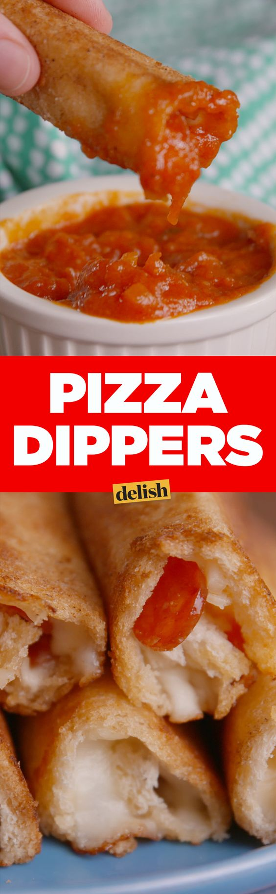Pizza + grilled cheese = these amazing Pizza Dippers. Get the recipe on Delish.com.