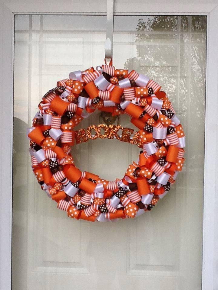 Ribbon Longhorn Wreath HOOK'EM!