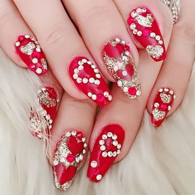 Get The Look 3 Valentine S Day Nail Art Ideas From Lauren B: New-rhinestone-red-nail-designs-for-valentines-day