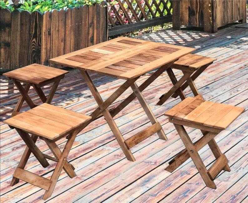 Foldable Wooden Table And Stool Set Garden Chair Outdoor Chair Set Foldable Table 4 Chairs 1 Table Farmhouse Desk Set In 2020 Outdoor Chair Set Foldable Table Wooden Tables