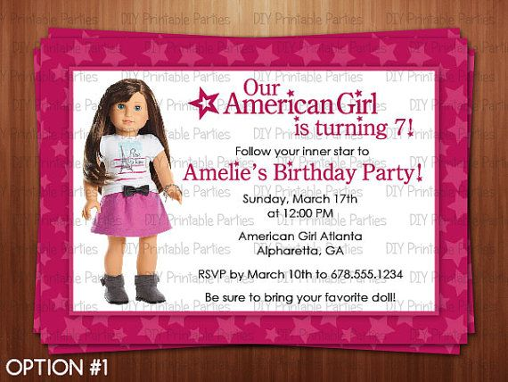 Nice Free Template American Girl Birthday Party Invitations
