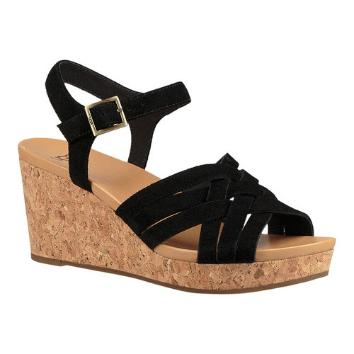 cacb3db7ae0 Women's UGG Uma Strappy Wedge Sandal - Black Suede Sandals in 2019 ...