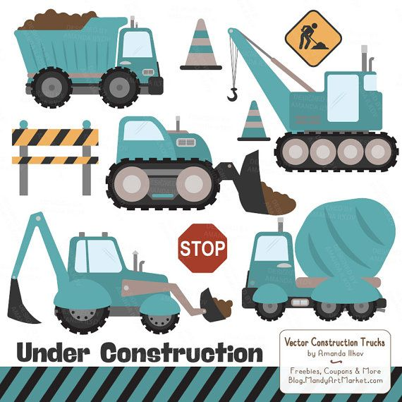 Premium Teal Construction Clipart Truck By AmandaIlkov