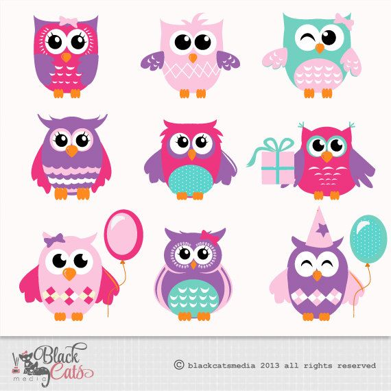 18 Cute Owl Clipart Png Boys And Girls Colors Instant Etsy Cute Owl Owl Baby Shower Theme Owl Birthday